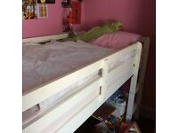 Child or teenager cabin bed, white with two step ladder