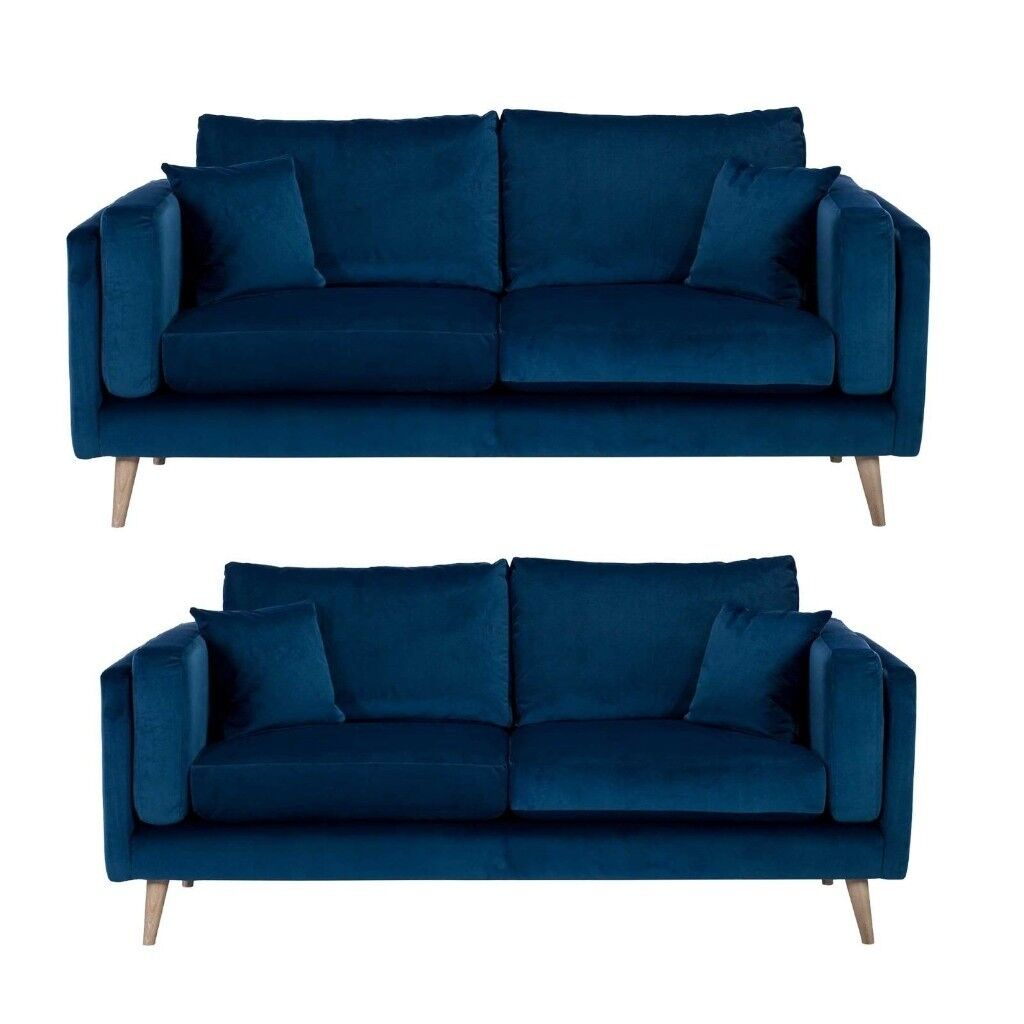 Barker And Stonehouse Two Blue Velvet Scandi Sofas W 195cm 165cm