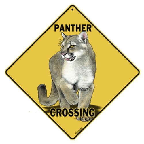 Panther Crossing Sign NEW 12x12 Metal Cougar Puma Mountain Lion