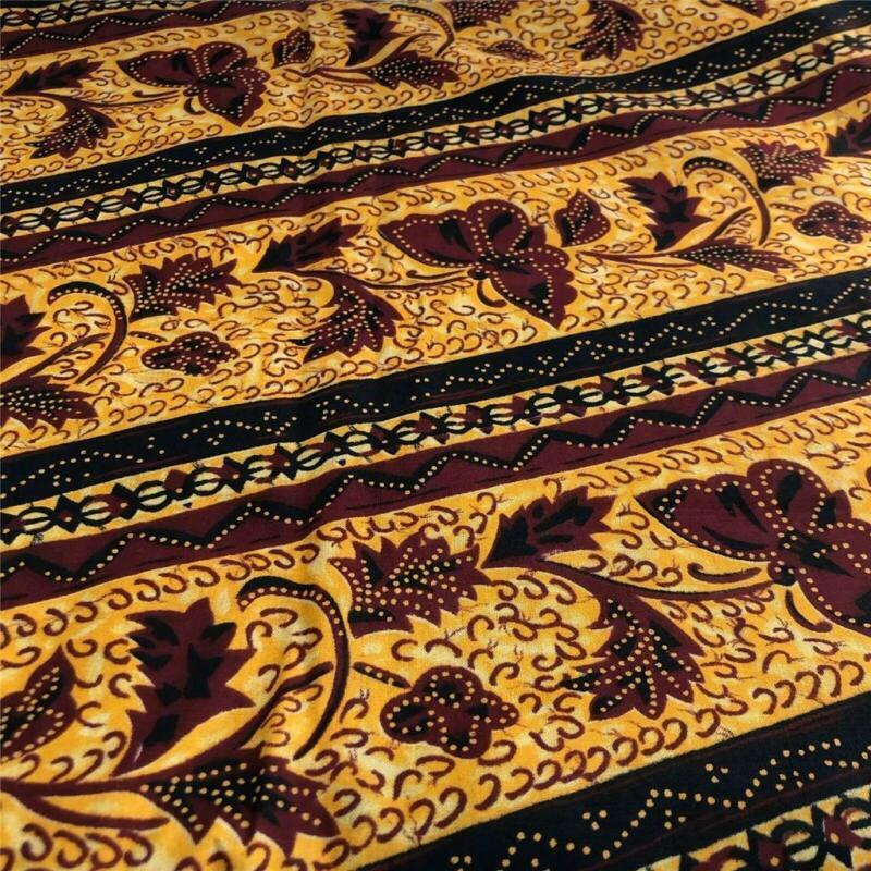 "Indonesian Batik Fabric Dark Red, Blue, Gold with Butterflies 42"" x 3yds"