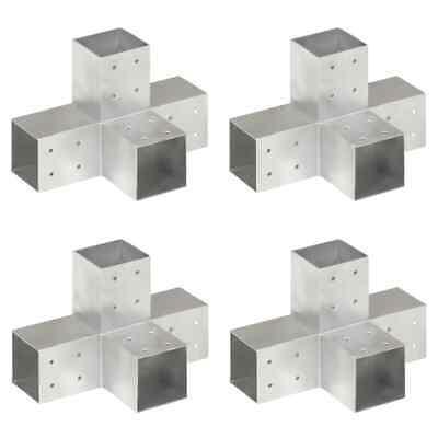 vidaXL 4x Post Connectors X Shape Galvanised Metal 81x81mm Wood Beams Support