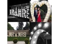 Light up letters Mrs and Mrs & giant 8ft heart wedding hire