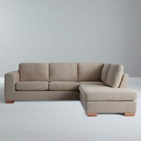 John Lewis RHF Chaise Corner Sofa in Oatmeal