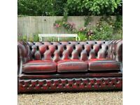 Beautiful Chesterfield Oxblood Leather 3 Seater Sofa