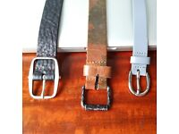 Belts, All NEW Men's Leather each 105cm - Petrol Industries, Plectrum/Ben Sherman & Buzzard
