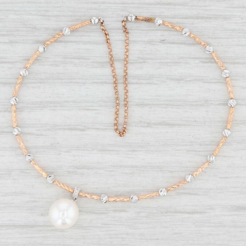 "New Cultured Pearl Diamond Cuff Bracelet 14k Rose White Gold 6.5"" Adjustable"