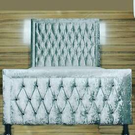 Princess style bed in Crushed silver velvet