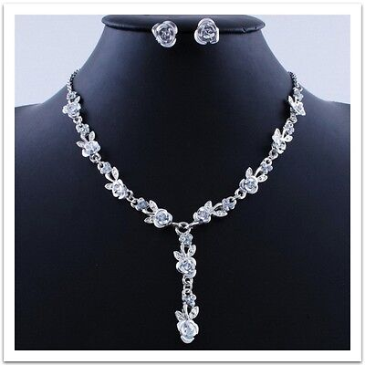 Silver Plated White Rose Necklace, Earrings Bridal Prom Jewelry Set