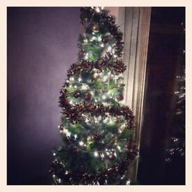 7ft Xmas tree with baubles and chains