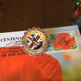 Lovely Somme badge and post card