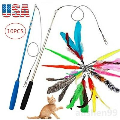Pet Cat Toys Feather Wand Rod Balls Pet Kitty Play Funny Teaser Interactive Toy