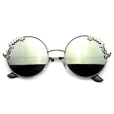 Floral Sunglasses (Womens Flower Floral Boho Round Mirror)