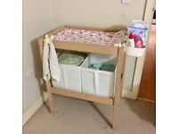 Ikea changing table with storage pots
