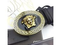 Circle round large design classic smooth sophisticated men's soft leather belt versace boxed him