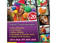 Face painting, balloon modelling, circus games, clown- birthday party, communion, christening