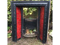 beautiful antique late Victorian/early Edwardian tiled fireplace insert