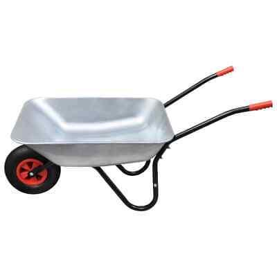 Garden Wheelbarrow Heavy Duty Galvanised Metal 80 L Tyre Wheel Barrow 120 kg