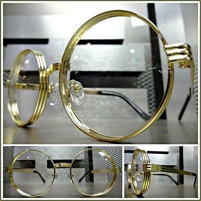 Men's or Women VINTAGE RETRO Style Clear Lens EYE GLASSES Round Gold Metal Frame