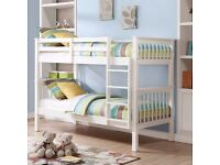 **BRAND NEW NOVARO WHITE SOLID PINE BUNK BED 3FT SINGLE BEDS RRP £349**