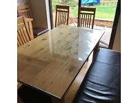 Furniture Village solid oak dining table and chairs and bench