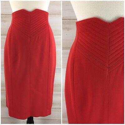Vintage 80s Escada high waist virgin wool red pencil wiggle skirt XS S