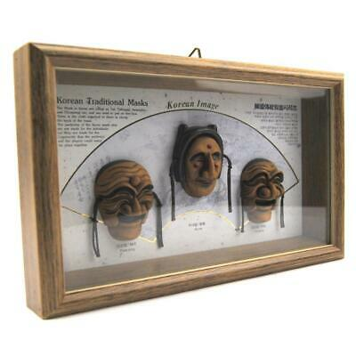 Korean Traditional Cased Masks Vintage Wooden Wall Art Piece 28cm x 19cm