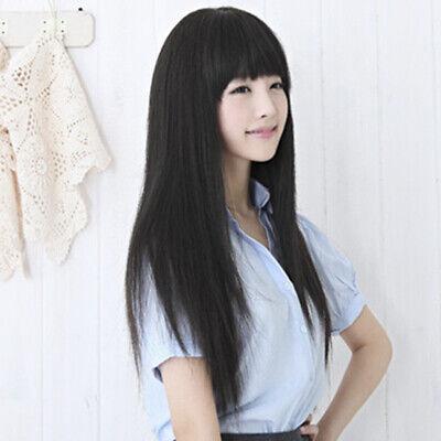 Womens Dress Up schwarz lange glatte volle Haare Perücken w. ordentlich