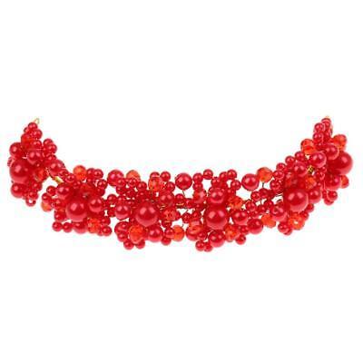 Rote Perle Kopfschmuck Hochzeit Haar Rebe Kristall Mädchen Braut