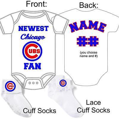 (PERSONALIZED CHICAGO CUBS BASEBALL FAN BABY GERBER ONESIE SOCKS CUSTOM MADE GIFT)