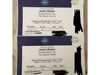 Justin Bieber Purpose World Tour Ticket x2 London o2 arena Monday 28 November Block B1 Floor Seats
