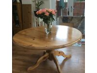 Large Preloved circular pine table with extension leaf