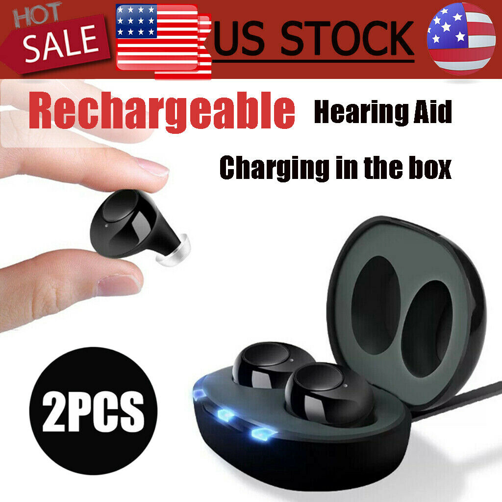 2 Rechargeable Digital ITE Hearing Aid Severe Loss Invisible