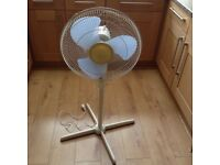 3 speed oscillating electric fan on stand - adjustable height. Very good condition.
