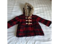 Next red check winter coat with hood