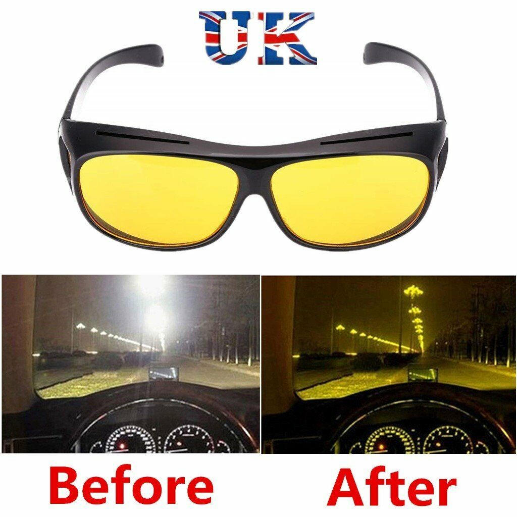 106fac3bd837 BRAND NEW UNISEX NIGHT VISION DRIVING SUNGLASSES OVER NORMAL GLASSES