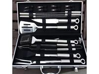 18 piece stainless steel BBQ set barbecue tools in case portable new wedding present