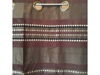 """Brand new eyelet lined curtains 66"""" x 54"""" brown Coloroll RRP £99"""