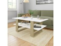 Coffee Table White and Sonoma Oak 110x55x42 cm Chipboard-800545