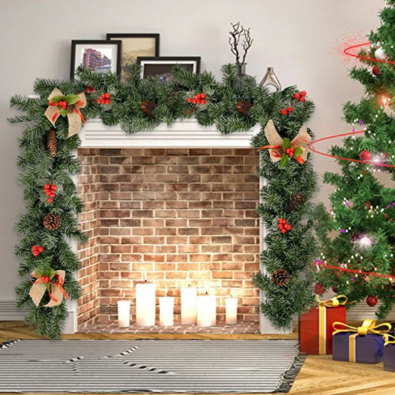 9FT Christmas Garland Imperial Pine Fireplace Wreath Ornaments Xmas Decorations