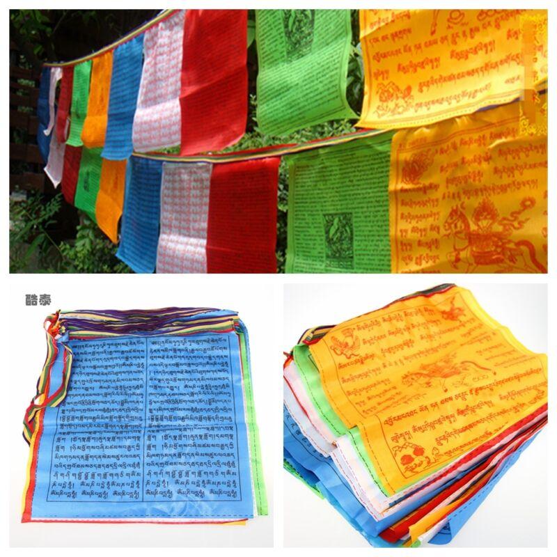 20 Flags 6 Meters Tibetan Buddhist Prayer Flag Artificial Silk Colour Print