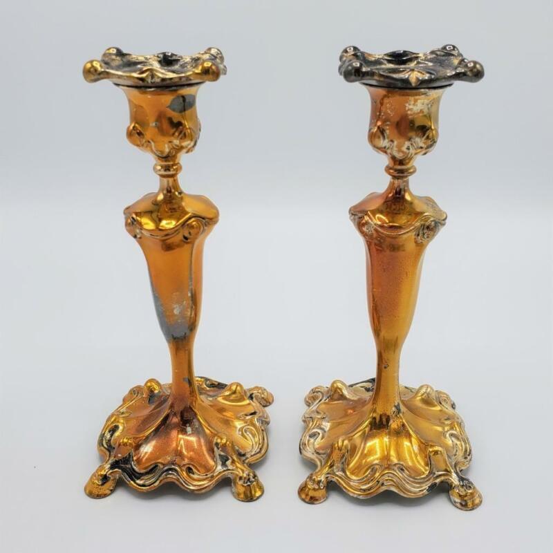 Antique Art Nouveau Candlesticks Quadruple Plate Barbour Silver