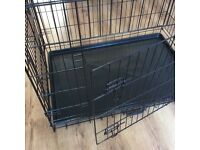 Large dog cage - side and front openings and removable tray