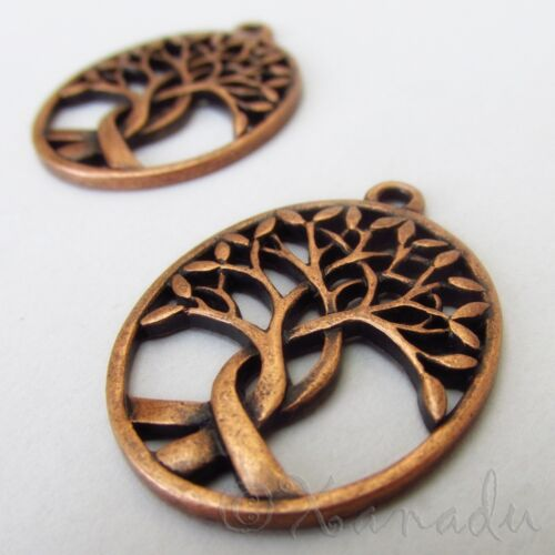Tree Of Life Charms 31mm Antiqued Copper Tree Pendants C7708 - 2, 5 Or 10PCs