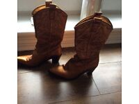 Gorgeous Bronze Kurt Geiger Leather Cowboy Boots Size 4 Brand New