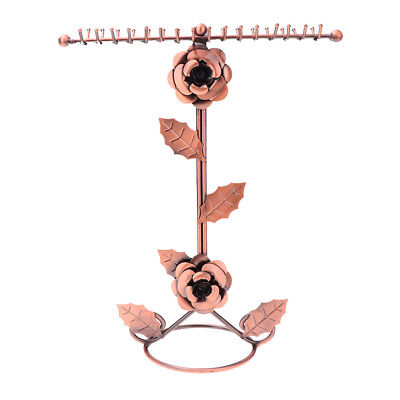 Bronze Rose Flower Metal Jewelry Rack Plated Necklace T-type Display Stand