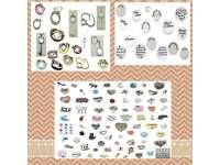 Charm necklace and bracelets and key rings and backing plates and charms