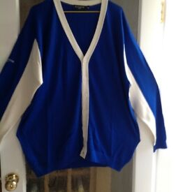 "Men's royal blue and white ""Scotland"" cardigan by Glenmuir size 2XL"