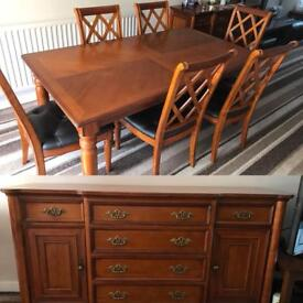 Cherry wood table with 6 chairs and matching sideboard. £100. Collection only