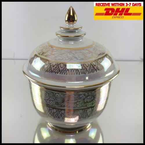 Thai Bowl Benjarong Jar Set Gold White Pearl Coating Ceramic Tiles Collectibles