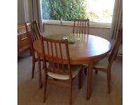 1970s retro teak dining table and 4 chairs by Elliott's of Newbury